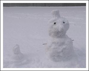 帽子と天狗鼻雪だるま